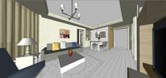 キッチンskpの隣にリビングルームがあるアパートのデザイン