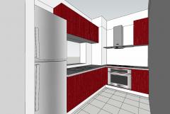 Дизайн кухни квартиры с красным шкафом скп