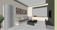 アパートのリビングルームのデザイン大きな窓skp