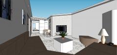 茶色のソファskpとアパートのリビングルームのデザイン