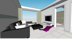Apartment living room design with violet chair skp