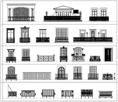 Balconies CAD collection dwg