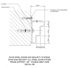 Frame Support - 90 - Double Deep Jamb CAD detail