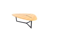 鉄フレームRevitモデルの木製テーブル