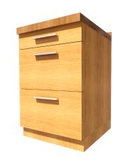 Wooden Base - 3 Drawers revit model