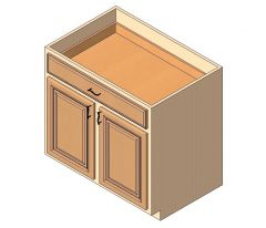 Base Cabinet 2doors 1drawer 1shelf 2deep roll-out  trays Revit Family