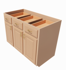 Wooden base cabinet_3_doors_3_drawers_3_deep_roll_out_trays revit model