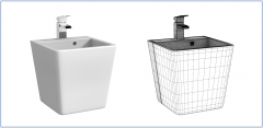 Wall hung contemporary basin 3ds max model