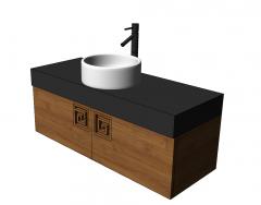 Bathroom vanity circle ceramic sink with under chinese pattern cabinet skp