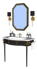 2つの金色のランプと六角形ミラーSKPを備えた洗面化粧台シンク