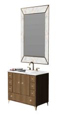 Lavabo de tocador de baño con grifo dorado y mueble bajo de madera (2 bisagras_ 7 cajones) skp