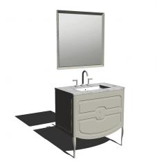 Waschbecken mit weißer Marmortischplatte und grauem Unterschrank (2 Schubladen) _ Rechteckspiegel skp
