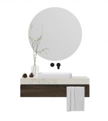 Lavabo de salle de bain avec dessus de table blanc et miroir circulaire_ vase skp