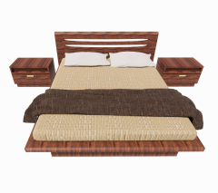 Wooden Bed with 2 tap revit model
