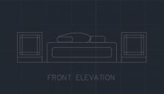 Bettgarnitur für Schlafzimmer 00004 dwg Zeichnung
