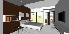キャビネットとランプskpを備えた寝室のデザイン