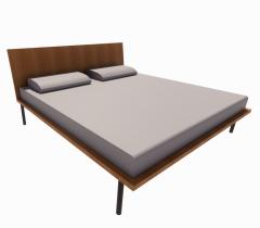 Bed with Wooden Back revit model