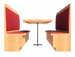 Booth with red Pad revit family