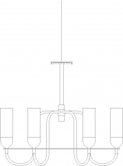Bottle Concept Chandelier with Glass Front Elevation dwg Drawing