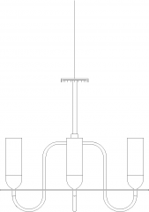 Bottle Concept Chandelier with Glass Left Side Elevation dwg Drawing