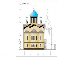 Brick Work Multi Level Church House Design Elevation .dwg_3