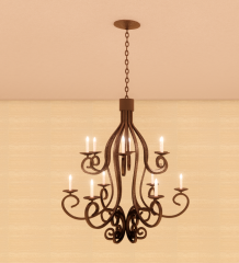 Bronze metal ceiling light with candle tray revit family
