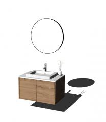 茶色の木製バスルームの洗面化粧台は、サークルミラーskpでシンクします。