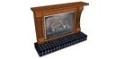 Brown wooden heater with dark tiling bottom heater skp