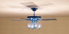 Blue metal Ceiling Fan hanging revit family