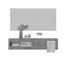 石鹸トレイと化粧品を備えたセメント製バスルーム洗面化粧台シンク_ vase_towel skp