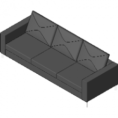 Three Seater With Narrow Arms Revit