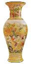 Jarrón de cerámica china con patrón dorado skp
