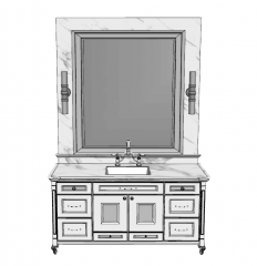 Classical marble cabinet with bathroom vanity sink and rectangle mirror skp