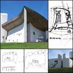 【Weltberühmte Architektur CAD-Zeichnungen re Notre Dame du Haut (Ronchamp)