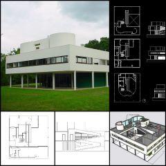 Villa Savoye-Le Corbusiers Villa Savoye CAD-Zeichnungen + Sketchup 3D-Modell