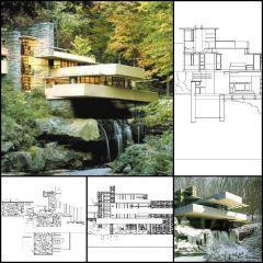 【世界的に有名な建築CAD図面】Fallingwater House-フランク・ロイド・ライト