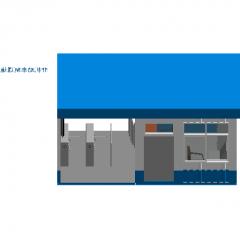 テーブルRevitモデルを備えたコンテナスタイルのガードルーム(ドア開口部右)