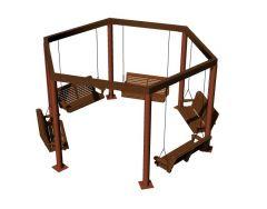 Long stretched designed courtyard swing 3d model .3dm format
