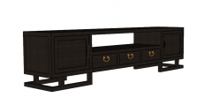 Armario gris oscuro con puerta de 2 bisagras-3 cajones con tirador clásico-centro abierto skp