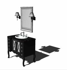 Lavabo de salle de bain en marbre foncé avec bois foncé sous carbinet skp