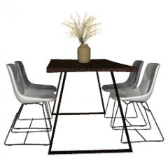 Обеденный стол из темного пластика с 4 пластиковыми стульями скп