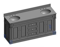 Davenport_72_Double vanity unit SKP 3d model