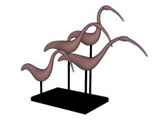 Decorazione statua gru rossa skp