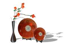 Decoración florero rojo con plato rojo skp