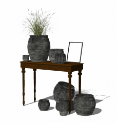 Decorative brown table with dark vase collection skp