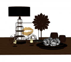 Decorative dark brown wooden set include candle tray, lamp and flower skp