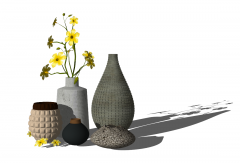 Decorative yellow apricot flowers vase skp
