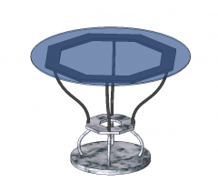 Round dining  table with stone slab revit family