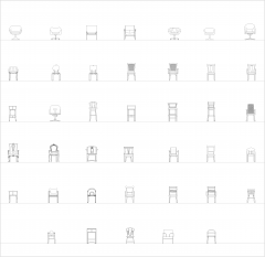 Dining chairs front elevation CAD collection dwg