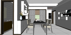 Dining room design with sliding door and wall mounted shelf skp